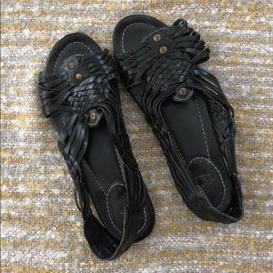 Frye black leather sandals, size 8
